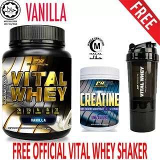 Vital Whey (Vanilla) Halal 1kg/2.2lbs, Whey Isolate With 24g Protein, 33 Servings + Pharmanutri 100% Creatine Halal 250g, 50 Servings (Unflavored) + FREE 3-in-1 Pharmanutri Vital Whey Protein Shaker/Blender/Mixer 17oz/500ml (Black)