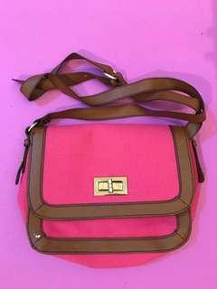 H&M - Fabric Leather Bag Crossbody (Pink & Brown)