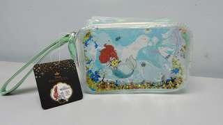 迪士尼小魚仙閃粉化粧袋,  disney the little mermaid princess bag 16x10.5x 7.5cm,