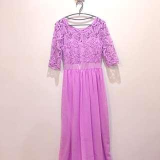 浪漫飄逸紫長裙