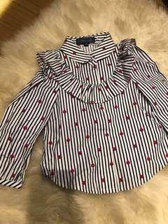 Nicholas and bears long sleeved shirt heart print stripe