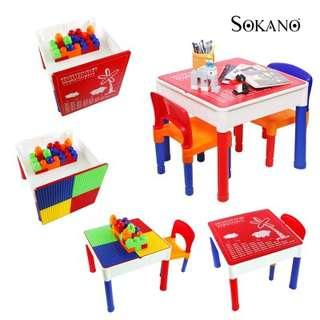 3 IN 1 LEARNING DESK AND PLAY DESK FOR KIDS (INCLUDE 1 TABLE AND 2 CHAIRS)