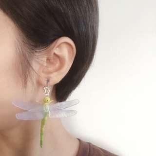 手作|蜻蜓飄飄耳夾