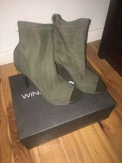 Khaki open toe heeled boots