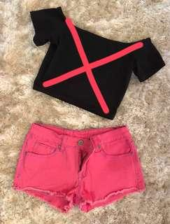 COTTON ON Black Crop Top (sold) & RADIOACTIVE Pink Shorts