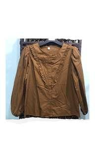 Brown Puff Blouse