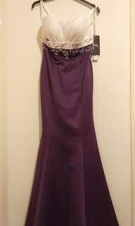 Purple and White Evening Gown