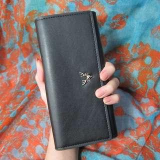 麋鹿黑色長夾(有背帶)