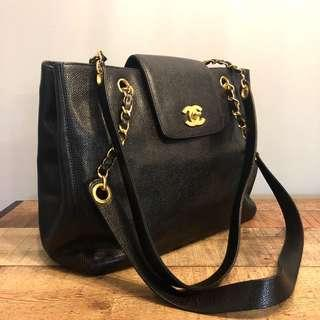 Authentic Chanel Caviar Rectangular Tote w 24k Gold Hardware