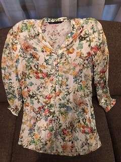 Zara blouse motif bunga