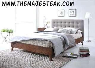 Teak n fabric bedframe