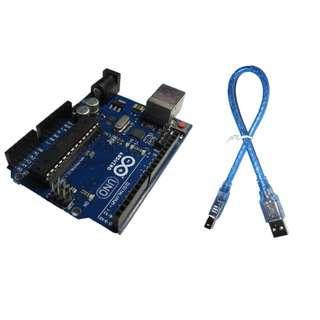 🚚 現貨 arduino uno r3 原廠晶片 ATMEGA16U2 官方版本送USB傳輸線 非舊版 開發板 附課程資料