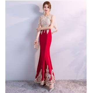 [Ready Stock] Golden Embroidered Cloak Style Wine Red Elegant Gown