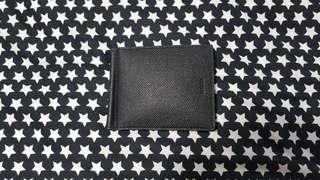 Bally bodolo mens full black calf printed leather money clip wallet