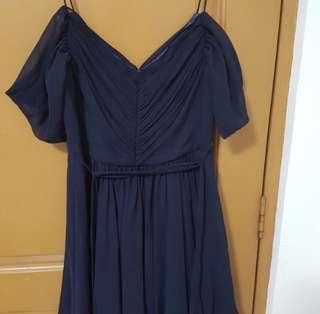 🚚 Forever New Chiffon Off Shoulder Cold Shoulder Pleated Front Dress