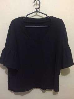 HTP Black bell sleeve blouse