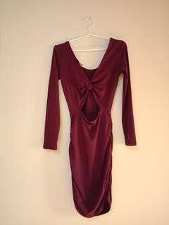 Burgundy maroon cut out back dress