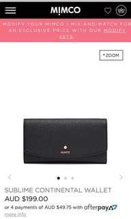 Mimco Continental Wallet Black