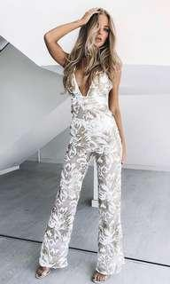 BEGINNING BOUTIQUE // harmon sequin jumpsuit gold