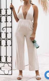 BEGINNING BOUTIQUE // Seville linen jumpsuit - beige