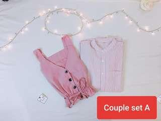 Couple shirt pink colour set ready stock