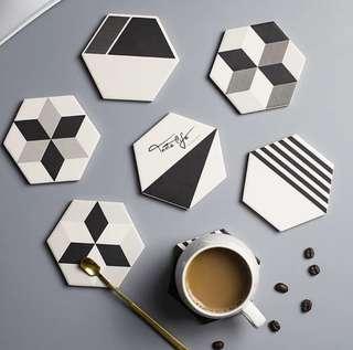 🚚 INSTOCK Monochrome Ceramic Coasters Set (6 pc)