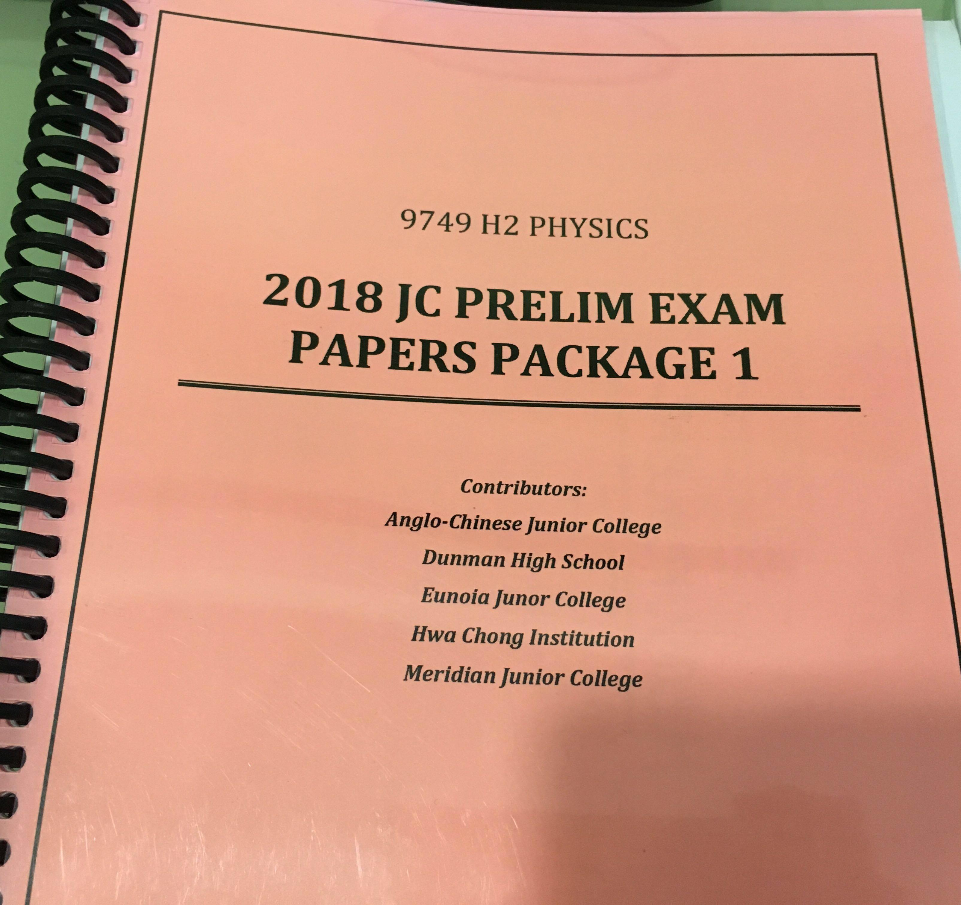 2018 H2 Physics JC Prelim Exam Papers Booklet, Books