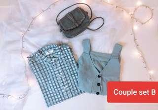 Couple shirt green top set new arrival ready stock
