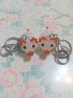 水晶珠猪匙扣