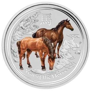 2014 年澳洲馬年彩色半安士銀幤 Australian Perth Mint Lunar Horse 0.5 oz Coloured Coin