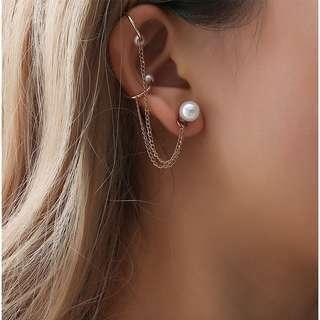 Pearl Fake Piercing Earring Clip On Chain Jewellery Earrings Stud
