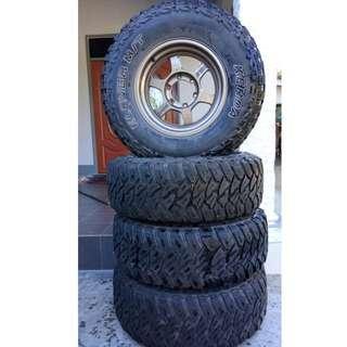 Rim TE37 R16 & Tayar M/T 4x4 Tyre LT 265/75 R16 Tip Top