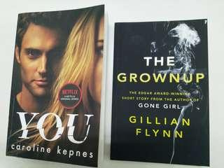 """MMAR18 """"You"""" by Caroline Kepnes and """"The Grownup"""" by Gillian Flynn. UPDATES: """"You"""" is sold. Only """"The Grownup"""" is available."""