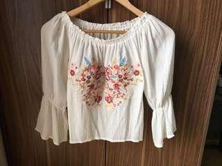 off shoulder embroidered design