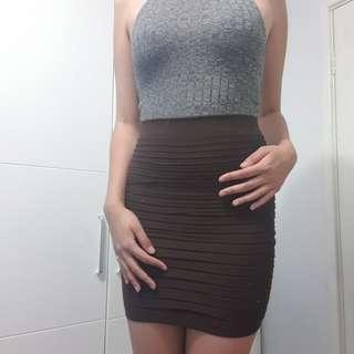 pintucked brown cotton skirt
