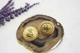 Chanel vintage 24k gold earrings