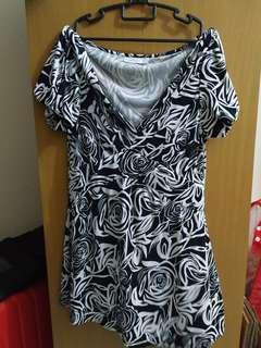 Black & White Floral Blouse