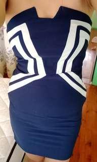 Navy arrow boob tube dress
