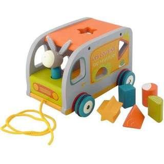 Moulin Roty Les Cousins Wooden Shape Sorting Truck Bus