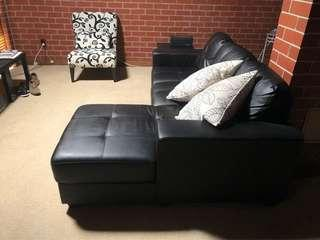 3-seater Black PU Leather Sofa with Chaise