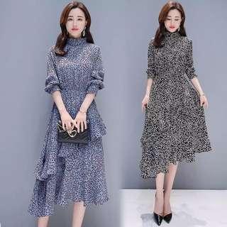 🚚 [PO] Korean Leafy Flounce Hem Dress (101)