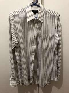 White pin stripes Long-sleeve polo