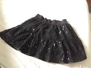 Black sequin glitter skirt