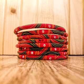 Red Fabric Bangles
