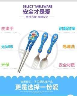 兒童多拉ㄟ夢學習筷組(學習筷+湯匙+叉子)