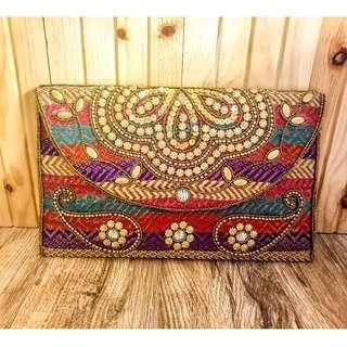 Multi-color Beaded Indian Clutch Bag