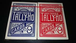 (正宗OHIO製藍標)全新2009年tally-ho撲克牌扇背一對