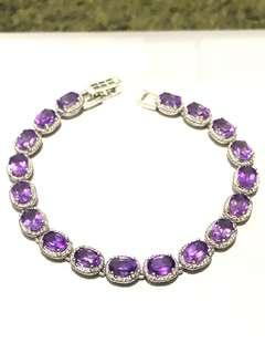 🚚 Gorgeous Bolivian Amethyst Bracelet in Sterling Silver (stamped 925).