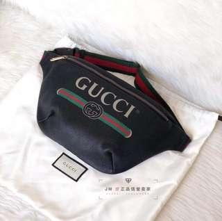 💯Ori Gucci Print Logo Belt Bag (Large)