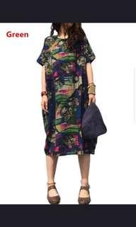 🚚 Plus size 5XL vintage women short sleeve floral casual baggy long shirt dress